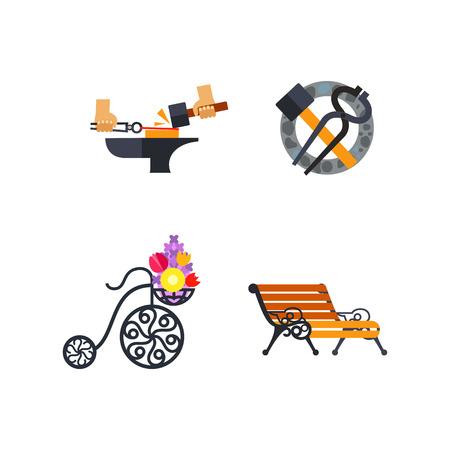 Iron works icon set