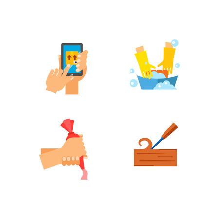 wooden post: Professions icon set Illustration
