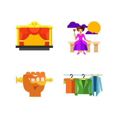 puppets: Theatre performance icon set Illustration