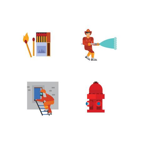 emergency stair: Firefighting icon set Illustration