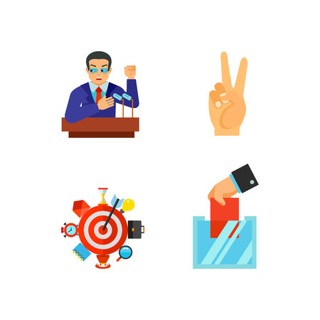Elections and business icon set