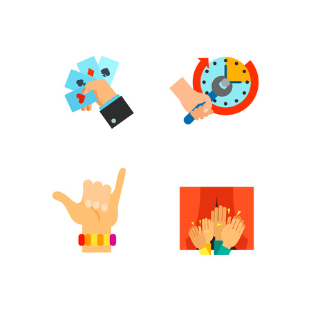 Hands holding different objects icon set Illustration