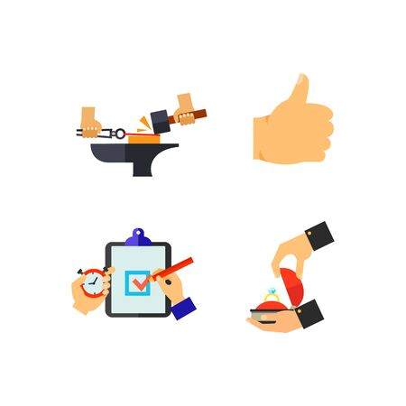 applauding: Hand sign icon set Illustration