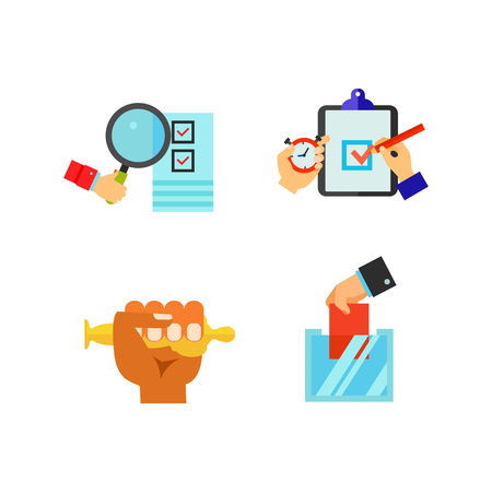 Hand sign icon set Illustration