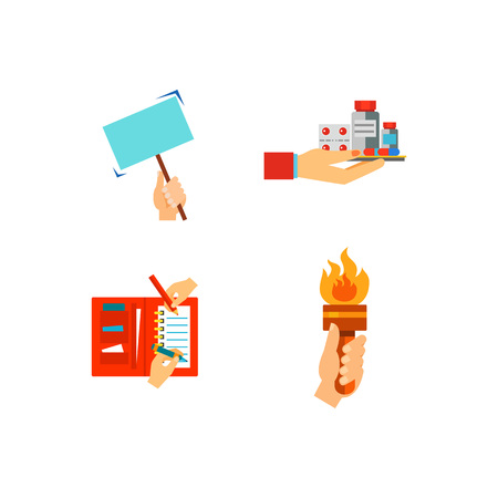 memory card: Hands icon set Illustration