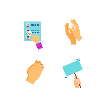 counting five: Hands icon set Illustration
