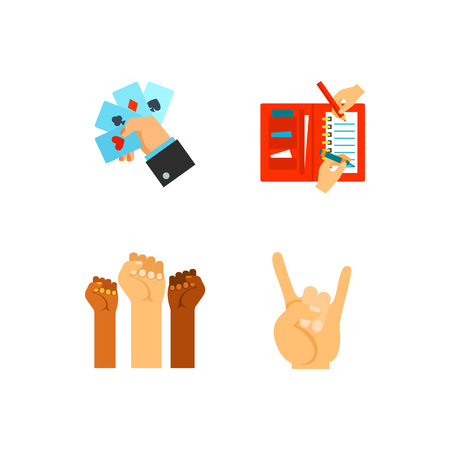 Hands icon set Illustration
