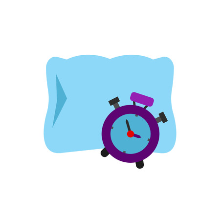 Alarm clock and pillow icon Illustration