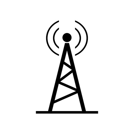 Icon of broadcasting distribution. Antenna, tower, transmission. Mass media concept. Can be used for topics like station, telecommunication, wireless signal