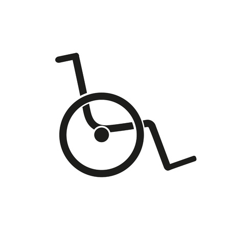 Simple icon of wheelchair. Disabled person care, handicapped, assisted living facility. Medical equipment concept. Can be used for topics like medicine, hospital, health