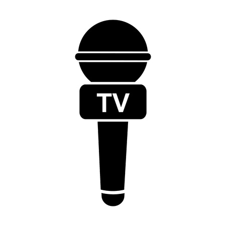 journalism: Microphone of tv journalist icon Illustration