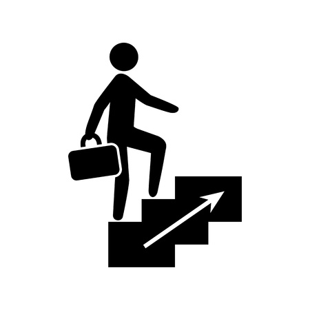 Icon of job promotion. Corporate ladder, going to work, motivation. Business concept. Can be used for topics like success, leadership, achievement