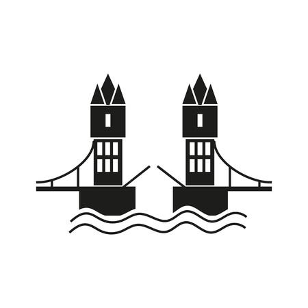 drawbridge: Icon of London bridge. Towers, water, drawbridge. Landmarks concept. Can be used for topics like sightseeing, travel, history