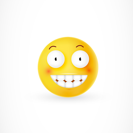 Yellow emoticon with cheesy grin