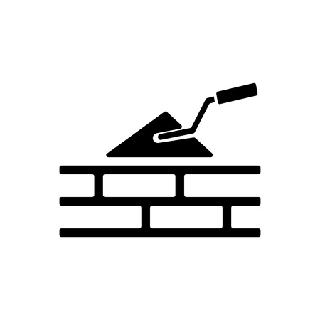 Trowel and bricks icon
