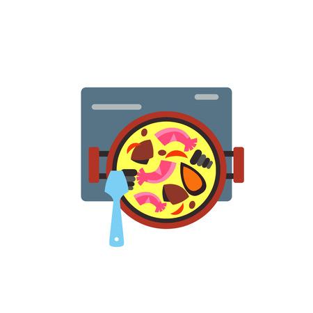 spanish food: Cooking Spanish paella icon Illustration