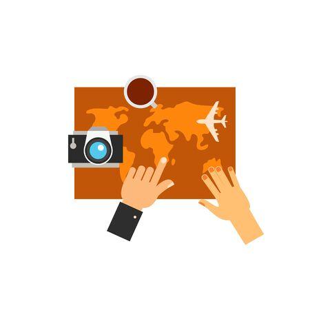 choosing: Couple planning tour on map icon Illustration