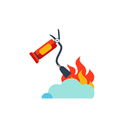 Extinguisher protecting from fire icon
