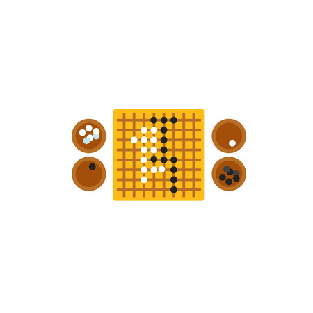 Go game board with stones icon Çizim