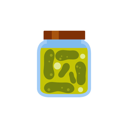 Pickled cucumbers jar vector icon