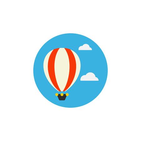 Hete luchtballon in hemel vector pictogram Stock Illustratie