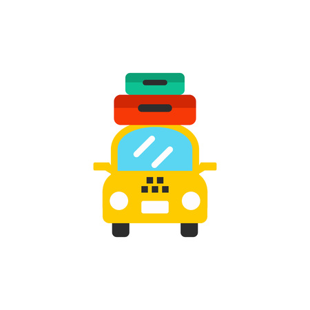 Taxi with suitcases as travel concept icon
