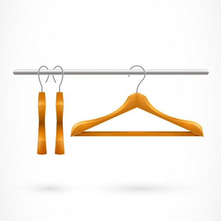 Three Hangers on Clothes Rail Illustration