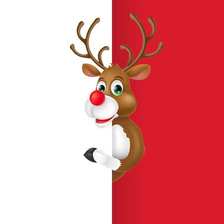 Christmas Deer Cartoon Character Illustration