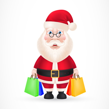 Santa Claus with Shopping Bags.