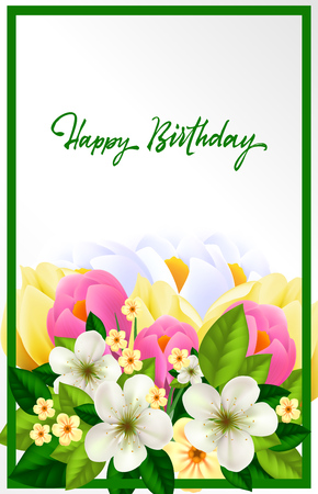 Happy birthday lettering. Beautiful card with wish in green frame. Handwritten text, calligraphy. Can be used for greeting cards, posters and leaflets