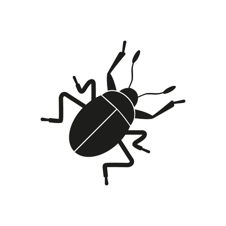 Simple icon of crawling bug. Caution sign, computer bug, cockroach. Pet types concept. Can be used for topics like fauna, terrarium, insects Illustration