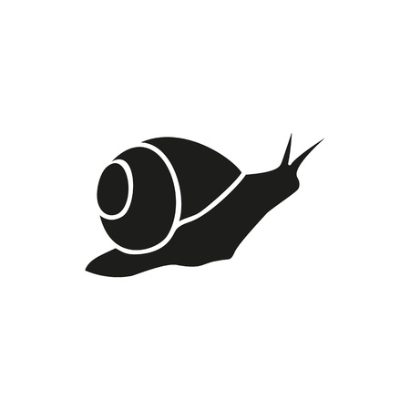 Simple icon of crawling snail. Mollusk, domestic animal, marine life. Pet types concept. Can be used for topics like aquarium, fauna, zoology