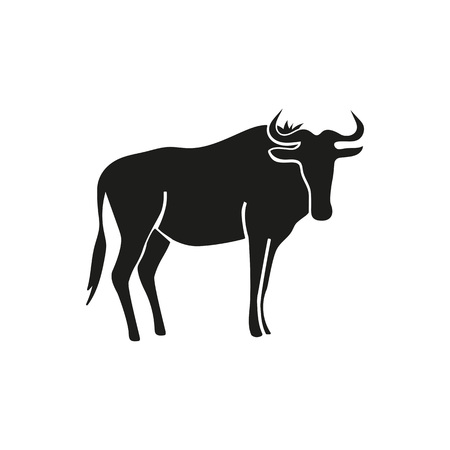 Simple icon of wildebeest. Gnu, bull, toro. Animals concept. Can be used for topics like fauna, zoo, cattle Illustration