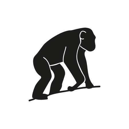Chimpanzee on tree simple icon. Illustration