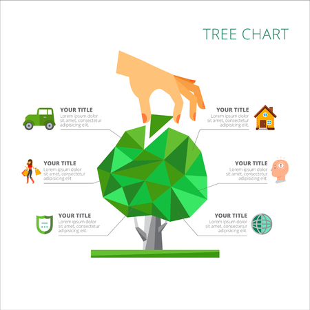 Tree chart with six options. Metaphor diagram, option graph, layout. Creative concept for infographics, presentation, project, report. Can be used for topics like statistics, strategy, development. Ilustração Vetorial