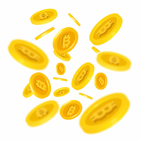 net: Illustration of flying gold bitcoins. Cryptography, currency, business. Financial concept. Design element for banners, posters, leaflets and brochures. Illustration