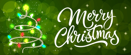 Merry Christmas calligraphy with colorful lights. Illustration