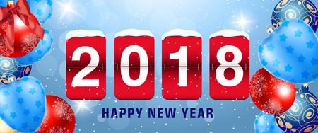 Happy New Year 2018 lettering on scoreboard. New Year day greeting card with balls. Typed text, calligraphy. For greeting cards, posters, leaflets and brochures.