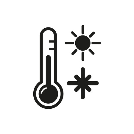 Icon of thermometer device. Measuring temperature, sun, snowflake. Season concept. Can be used for topics like temperature gradient, climate, meteorology