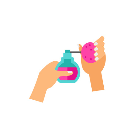 Hands Spraying Perfume Vector Icon Illustration