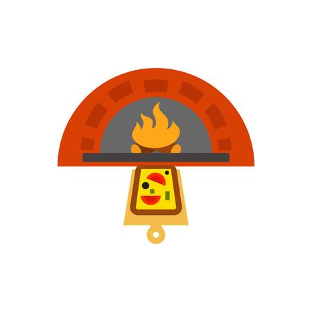 Pizza Oven Vector Icon Illustration