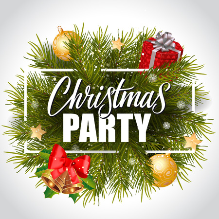 Christmas party lettering in frame Illustration