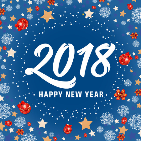 Happy New Year 2018 lettering. New Year day greeting card with stars, balls and snowflakes. Handwritten and typed text, calligraphy. For greeting cards, posters, leaflets and brochures.