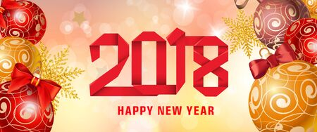 Happy New Year 2018 paper lettering. New Year day greeting card with balls. Typed text, calligraphy. For greeting cards, posters, leaflets and brochures. Illustration