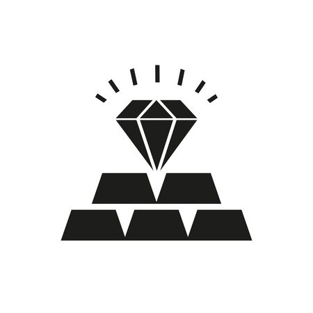 Icon of commodities investment. Precious metals, deposit, jewelry. Banking product concept. Can be used for topics like goods, investment, luxury Illustration