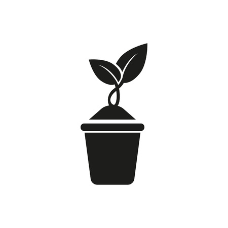 Icon of growing plant in spring. Potted plant, sprout, farm. Season concept. Can be used for topics like seedling, garden, new life