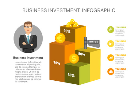 Bar chart template for business investment. Illustration