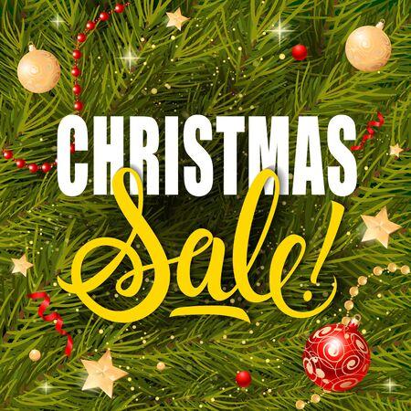 Christmas Sale Lettering and Garlands Illustration