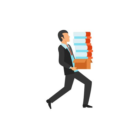 Businessman and books icon