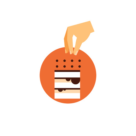 Icon of tiramisu cake. Cooking cake, custard, coffee-flavoured. Chocolate dessert concept. Can be used for topics like Italian cuisine, restaurant, recipe Иллюстрация